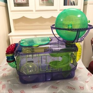 Hamster 🐹 Cage With Exercise Wheel And Ball For E